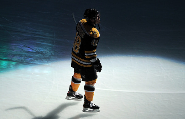 Boston: Boxford native Chris Bourque is introduced at the TD Garden prior to the start of the season opener against the New York Rangers on Saturday evening. David Le/Salem News