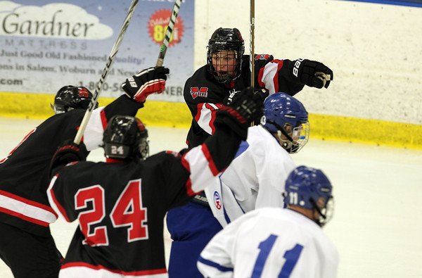 Salem: Marblehead senior winger Trip Franzese points to the net after scoring his second goal of the night for the Headers, putting Marblehead up 3-1 over the Danvers Falcons at the O'Keefe Center on Wednesday evening. David Le/The Salem News