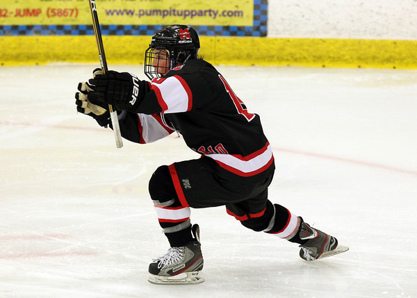 Salem: Marblehead senior forward Trip Franzese drops to one knee and pumps his fist after netting his second goal of the game against Danvers on Wednesday evening. Behind a two goal effort from Franzese, the Headers downed the Falcons 4-1 at the O'Keefe Center. David Le/The Salem News
