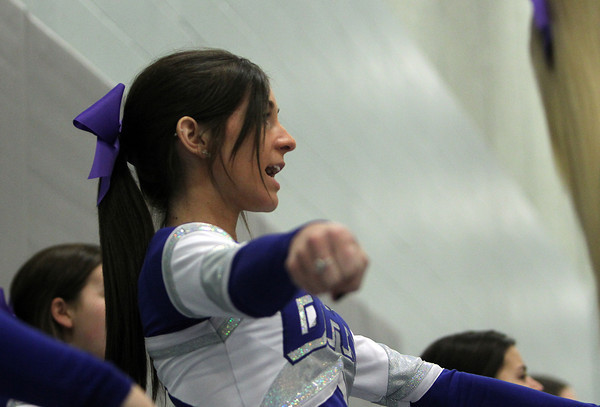 Danvers: Danvers High School junior cheerleader Nicole Theriault cheers on the Falcons during their game against Salem on Friday evening. David Le/The Salem News