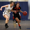 Hamilton: Ipswich High School sophomore Masey Zegarowski, right, carries the ball up court while being hassled by Hamilton-Wenham junior Haley Willis, left, on Friday evening. David Le/Salem News