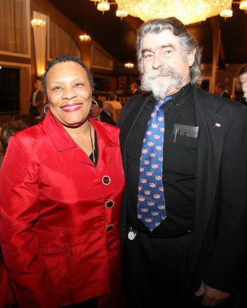 Danvers: Doreen Murray, of Building Songs for Music, and Dave McKenna, a Danvers Diversity Committee Member, at the Danvers Diversity Committee's annual event held at the Danversport Yacht Club on Monday evening. David Le/Salem News