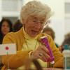 Beverly: Sophia Nikas, of Ipswich, smiles as she marks down numbers being called during the final night of Bingo at the Beverly Senior Center on Wednesday evening. David Le/Salem News