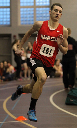 Marblehead: Marblehead senior Josh Beloff wins the 300m race against Winthrop on Thursday afternoon. David Le/The Salem News