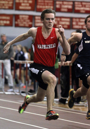 Marblehead: Marblehead senior Connor Green wins the 55m dash against Winthrop on Thursday afternoon. David Le/The Salem News