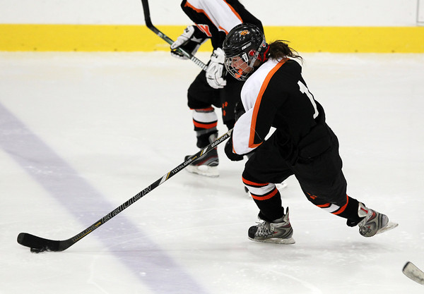 Gloucester: Beverly High School senior forward Livvy Konaxis flies up-ice carrying the puck against Masco on Saturday evening. Konaxis and the Panthers defeated the Chieftans 2-0 at the Dorothea Talbot Rink in Gloucester. David Le/The Salem News