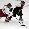 Gloucester: Beverly senior forward Livvy Konaxis, right, battles with Masco sophomore Jensena Moner, left, during the second period of play. Konaxis and the Panthers defeated the Chieftans 2-0 on Saturday evening. David Le/The Salem News