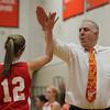 Masco Head Coach Bob Romeo high fives point guard Hannah Kiernan during a time-out. David Le/Staff Photo
