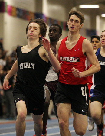 Boston: Beverly senior Mike Black, left, and Marblehead junior Ian McIver compete in the 600 at the NEC Indoor Track Championships at the Reggie Lewis Center in Boston. David Le/Salem News