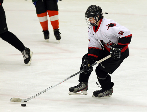 Salem: Salem HIgh School freshman forward Eamon Williamson carries the puck up-ice against O'Bryant at the O'Keefe Center at Salem State on Wednesday afternoon. David Le/Salem News