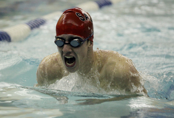 Peabody: Salem junior Kevin Clyne comes up for air during the 200 meter IM against Peabody on Tuesday evening. David Le/Salem News