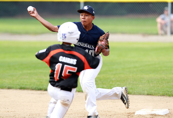 Beverly: Hamilton-Wenham shortstop Adam Parady steps on second and fires to first to complete a double play. David Le/Salem News