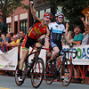 Beverly: Beverly native Shawn Milne, left, pumps his fist in the air after barely edging out Stephen Hyde, right, at the finish line to capture first place in the Men's Elite race of the Beverly Gran Prix on Wednesday evening. David Le/Salem News