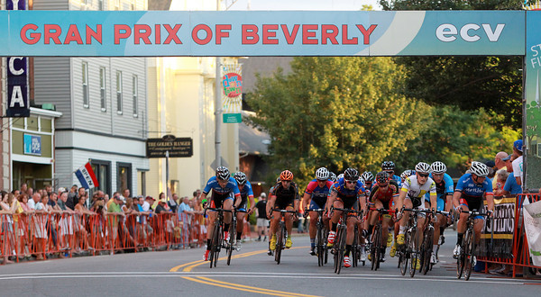 Beverly: Riders in the Elite Men's race of the Gran Prix of Beverly pass under the finish line on Wednesday evening. David Le/Salem News