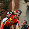 Beverly: Beverly native Shawn Milne pumps his fist high in the air after he barely edged out Stephen Hyde at the finish line to capture a first place finish in the Men's Elite race of the Beverly Gran Prix. David Le/Salem News