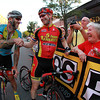 Beverly: Beverly native and winner of the Men's Elite Race of the Gran Prix of Beverly, Shawn Milne, center, shakes hands with competitor Adam Myerson, left, as Milne's grandmother Doris, right, and uncle, Jeff, look on proudly. David Le/Salem News