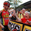 Beverly: Beverly native Shawn Milne gets a thumbs up from his grandmother Doris Milne, of Manchester, after winning the Men's Elite race of the Beverly Gran Prix in a photo finish, barely edging out Stephen Hyde. David Le/Salem News