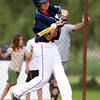 Nahant: Peabody West catcher Chris Kwmuntic makes contact off Lynnfield starting pitcher Matt Relihan in the first inning of play in the District 16 Championship game. David Le/Salem News