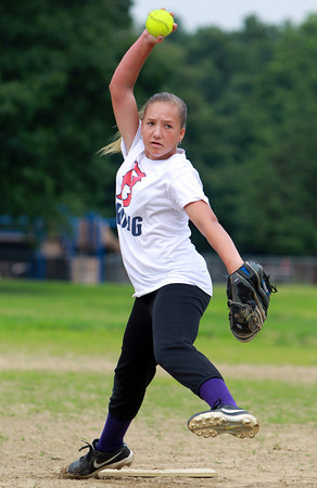 Peabody: Third baseman and #2 starting pitcher Mallory LeBlanc will look to pitch the Peabody West 12-year-old all-stars this weekend in the state tournament. David Le/Salem News