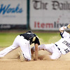 Lynn: Bishop Fenwick second baseman Mike Campatelli, left, can't corral a throw from catcher Gianni Esposito as St. Mary's Bryan Nerich slides safely into second base for a steal.  David Le/Salem News