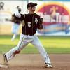 Lynn: Bishop Fenwick junior third baseman Nick Bona fires a strike to first base after making a sliding stop deep down the third base line. David Le/Salem News