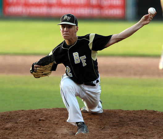 Lynn: Bishop Fenwick starting pitcher Thomas Parsons fires a pitch in the second inning of play on Wednesday evening. David Le/Salem News