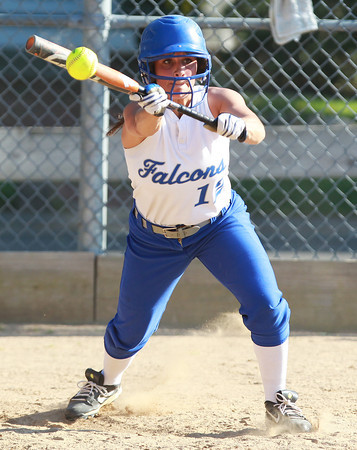 Danvers: Danvers senior Julia Saggese lays down a bunt single to get the offense started in the bottom of the 7th inning against Tewksbury. The Falcons tied the game at 5, but Tewksbury plated three runs in the top of the 8th, going onto win 8-5, knocking the top seeded Falcons out of the D2 North Tournament. David Le/Salem News