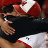 Brockton: Masco senior Greg Jain (9) gets a hug from a coach after the Chieftans fell to Hingham in the Division II State Semifinal at Campanelli Stadium in Brockton on Wednesday evening. David Le/Salem News