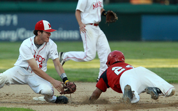 Brockton: Masco junior Will Twiss (6) reaches over and tags out Hingham senior Evan Flanagan (24) as he dives headfirst into second base. David Le/Salem News