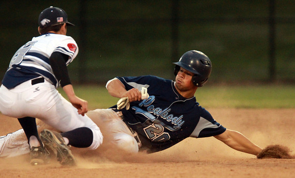 Lynn: Peabody High School third baseman George Tsonis (20) is tagged out by St. John's Prep junior shortstop Max Burt (6) as he attempts a steal of second base. David Le/Salem News