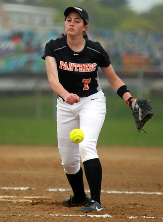 Beverly: Beverly starting pitcher Emily Pitman fires a pitch against Peabody in the first inning of play. David Le/Staff Photo