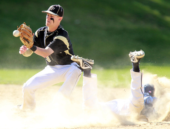 Peabody: Bishop Fenwick shortstop Mike MacKensie receives the throw as Peabody's Steve Leavitt slides safely into second base through a cloud of dust. David Le/Salem News