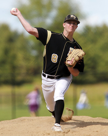 Peabody: Bishop Fenwick starting pitcher Andrew Lessard fires a strike against Peabody on Friday afternoon. David Le/Salem News