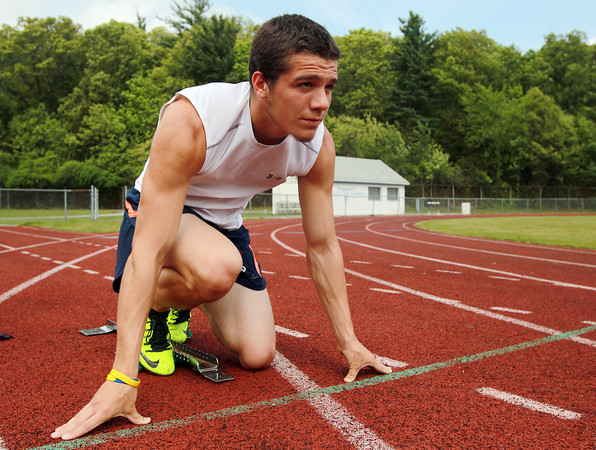 Peabody: Peabody senior Chris Cennami has the Tanner school record in the 100 meters, will look to win the All-State D1 Title this Saturday at Andover High School in addition to competing in the 200 meter race and 4x100 relay. David Le/Salem News