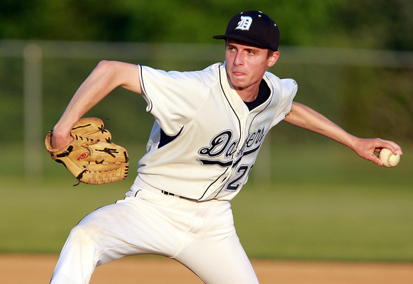 Danvers: Danvers starting pitcher Brandon Hyde fires a strike during the third inning of play on Friday evening against Tewksbury. Hyde went the distance for the Falcons, pitching a shutout, and helping Danvers advance with a 5-0 win at Twi Field. David Le/Salem News