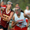 Boxford: Masco's Caroline Chipman, right, closely defends Newburyport's Ali Peffer, left, on Friday evening. David Le/Salem News