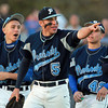 Danvers: Peabody's Tanner Moquin points to teammate Brandon Polignone after he drove in a run with a single in the top of the 5th inning. David Le/Salem News