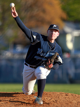 Danvers: Peabody High School ace Pat Ruotolo fires a strike in the first inning of play on Wednesday evening against Danvers. David Le/Salem News