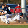 Danvers: Danvers senior Dan Connors slides safely back into third base ahead of the tag from Peabody third baseman George Tsonis on Wednesday afternoon. David Le/Salem News