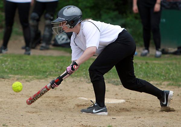 Salem: Salem Academy sophomore Jenn Gorman drops down a base hit bunt against Prospect Hill on Wednesday afternoon. David Le/Salem News