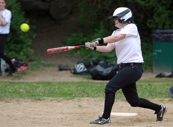 Salem: Salem Academy freshman Robyn Hendry lines a single to centerfield on Wednesday afternoon against Prospect Hill. David Le/Salem News