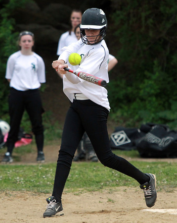 Salem: Salem Academy freshman Sydney Moreno makes contact during the 4th inning of play against Prospect Hill on Wednesday afternoon. David Le/Salem News