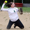 Salem: Freshman pitcher Tara Deschenes fires the ball home after making a lunging stop on a grounder. David Le/Salem News