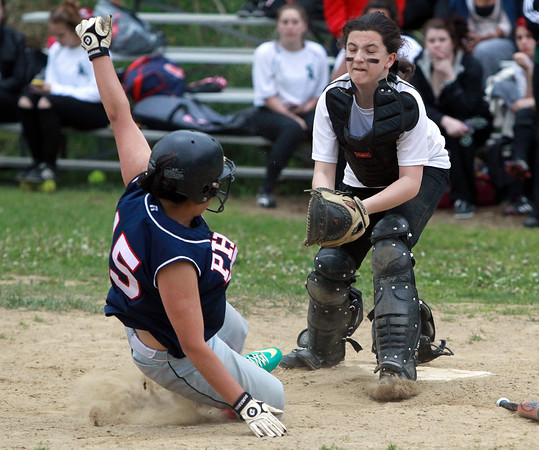 Salem: Salem Academy freshman catcher Sam Griffin tags out a sliding Prospect Hill baserunner on a play at the plate. David Le/Salem News