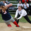 Salem: Salem Academy freshman Tara Deschenes tags a sliding Prospect Hill baserunner out at a close play at home plate. David Le/Salem News