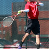 Salem. Salem High School senior captain Tahmid Raji rips a return volley during first singles play on Tuesday afternoon against Gloucester. David Le/Salem News