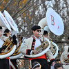 "Beverly: The Beverly High School marching band sousaphone section wear matching black berets providing the bass notes during the Jaws theme song and Darth Vader's ""Imperial March"" which keep the crowd's energy up during Saturday's football game. photo by Mark Teiwes / Salem News"