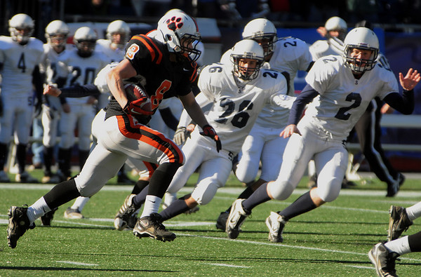 Chris Mitchell of Beverly carries the ball during the Division 3 Super Bowl against Somerset at Gillette Stadium on Saturday.<br /> Photo by Ken Yuszkus/Salem News, Saturday, December 4, 2010.