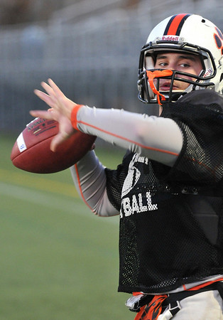 Beverly:  Beverly High School football team practices in preparation for Saturday's Super Bowl game: quarterback Joe Wioncek.   photo by Mark Teiwes / Salem News