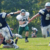 Hamilton:  Generals player Elliot Burr, right, carries the ball with Dylan Keith ready for a block.  photo by Mark Teiwes / Salem News